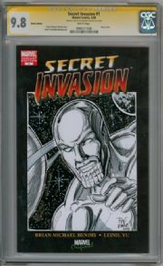 Secret Invasion #1 Blank CGC 9.8 Signature Series Signed Rodney Ramos Silver Surfer Skrull Sketch